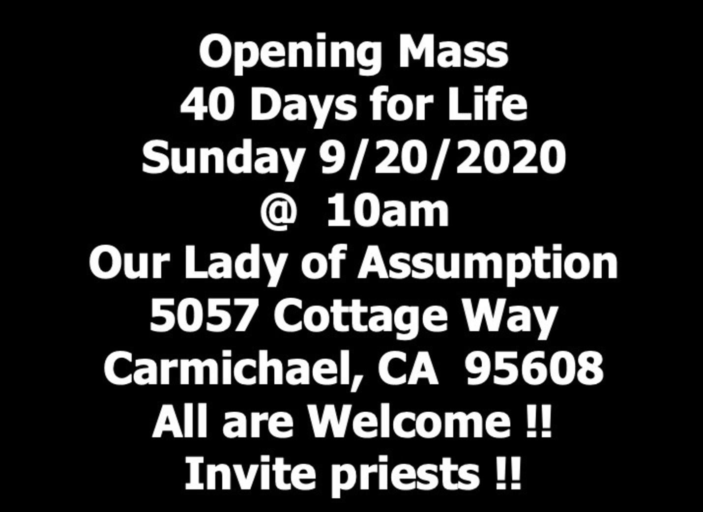 40 Days Open Mass