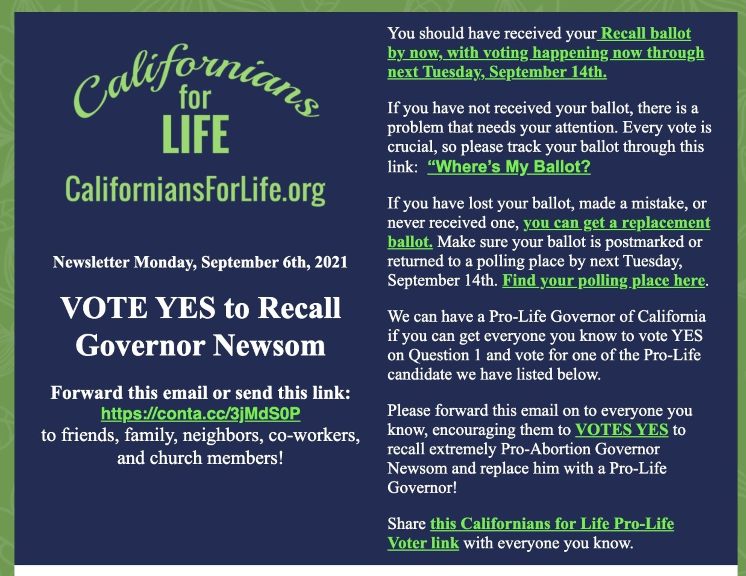 Ca For Life Recall