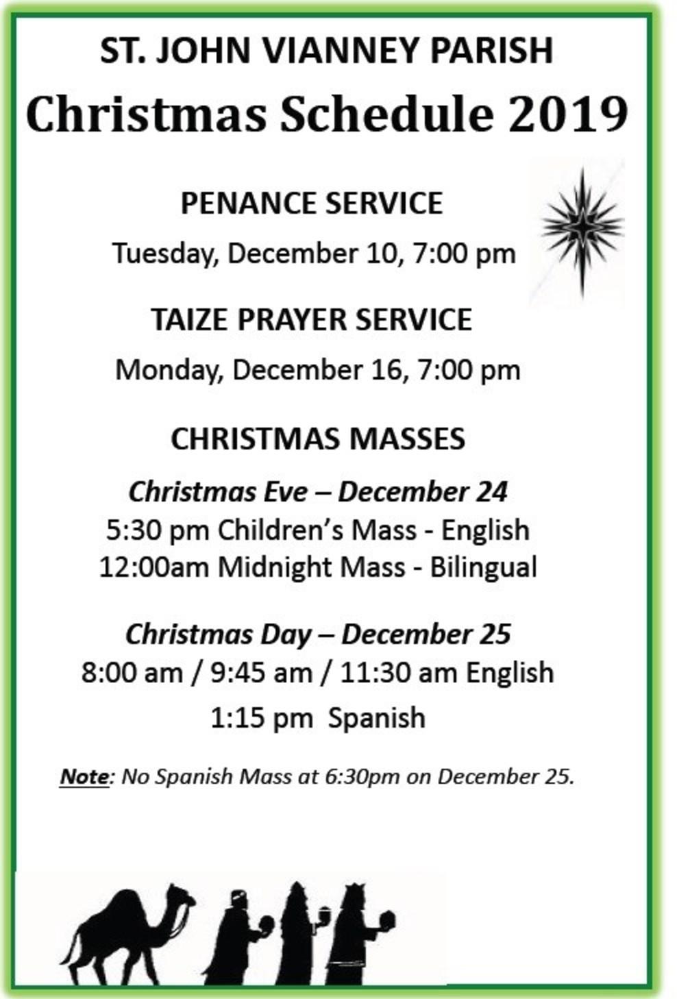 Christmas Schedule  English