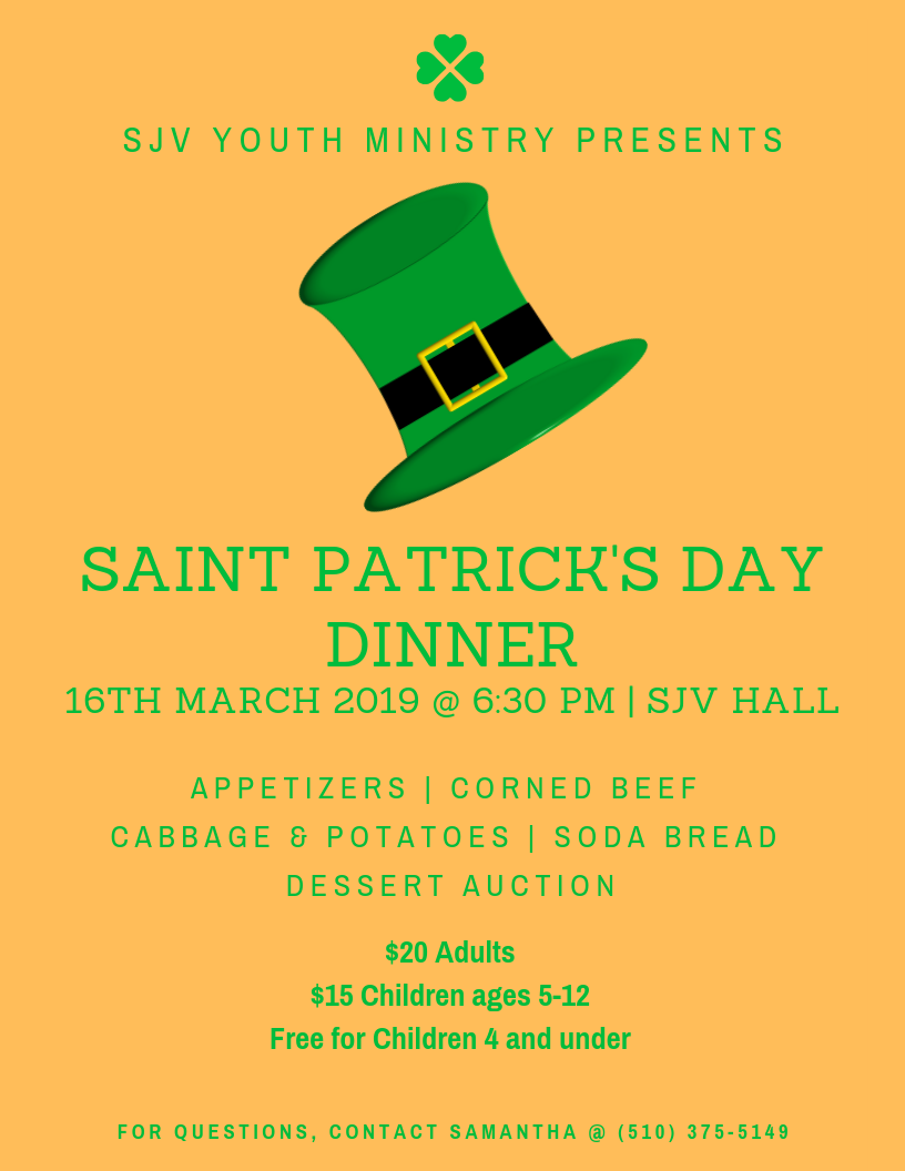 St Pat Dinner Flyer 2019